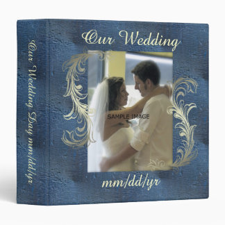 Blue Scroll Wedding Photo Album 3 Ring Binder