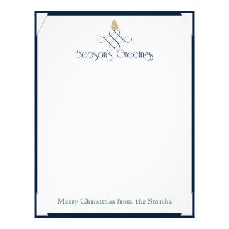Blue Scroll with Small Gold Christmas Tree Letterhead Template