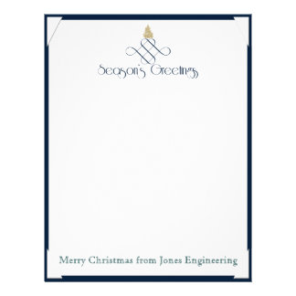Blue Scroll with Small Gold Christmas Tree Letterhead