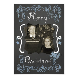 Blue Scrolls Customized Photo Holiday Card