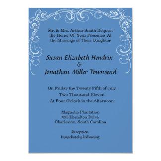 Blue Scrolls Wedding Invitations