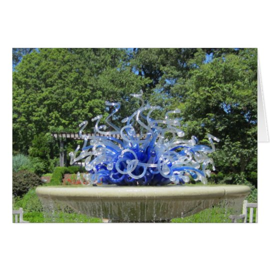 Blue Sculpture Fountain and Trees Photo Card