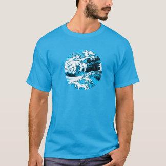 Blue scum, comic style, tee-shirt man, round T-Shirt