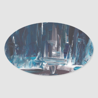 Blue Sea Abstract Art Painting Oval Sticker