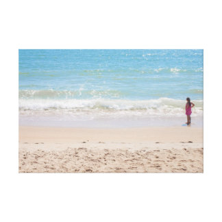 Blue Sea and Peaceful Waves Beach Photography Gallery Wrapped Canvas