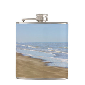Blue Sea and Shore Photograph Hip Flask
