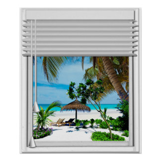 Blue Sea Beach View Fake Window With Blinds Poster