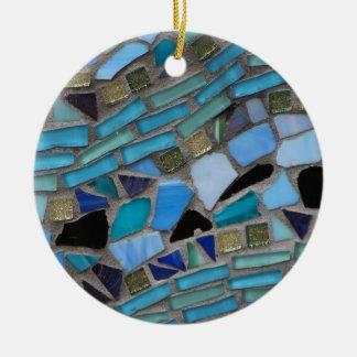 Blue Sea Glass Mosaic Ceramic Ornament