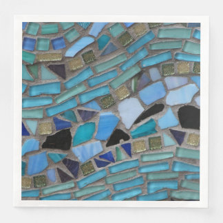 Blue Sea Glass Mosaic Dinner Paper Napkin