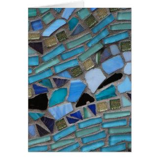 Blue Sea Glass Mosaic Greeting Card