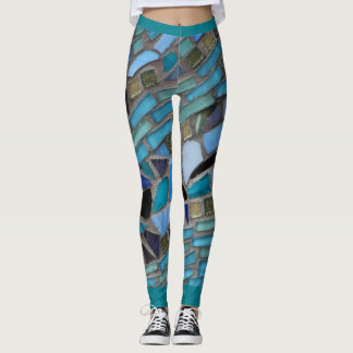 Blue Sea Glass Mosaic Leggings