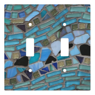 Blue Sea Glass Mosaic Light Switch Cover