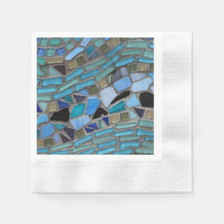 Blue Sea Glass Mosaic Napkin