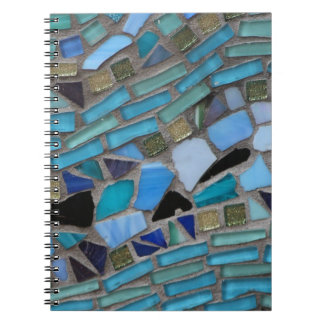 Blue Sea Glass Mosaic Spiral Note Book