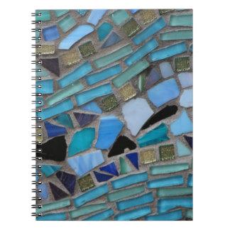 Blue Sea Glass Mosaic Spiral Notebook