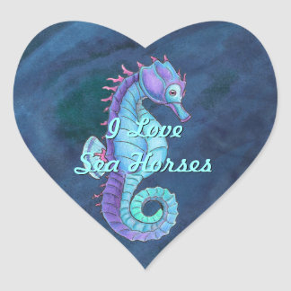 Blue Sea Horse Heart Stickers