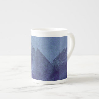 Blue sea ocean nature abstract painting art tea cup