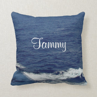 Blue Sea Personalized Name Ocean Pillow