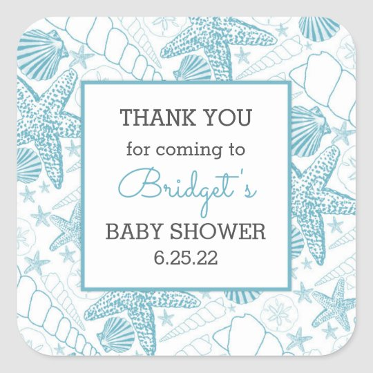 Blue Sea Shells baby shower favour thank you Square Sticker
