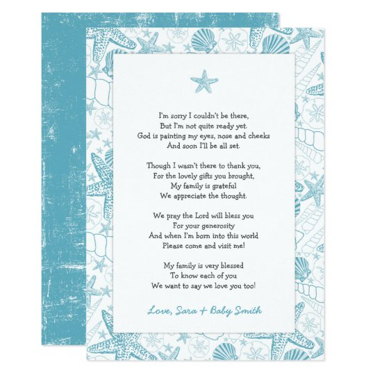 Blue Sea Shells baby shower thank you note poem Card