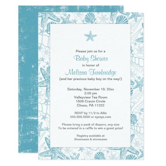 Blue Sea Shells Starfish boy baby shower invite