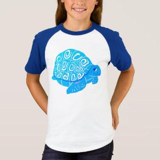 Blue Sea Turtle Girls' Short Sleeve Raglan T-Shirt
