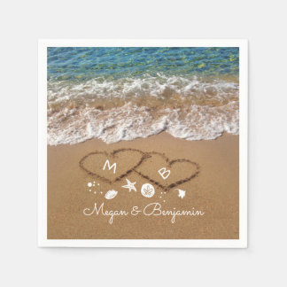 Blue Sea Waves and Sand Hearts Tropical Wedding Paper Napkin