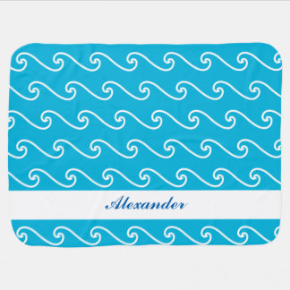 Blue sea waves name personalized baby blanket