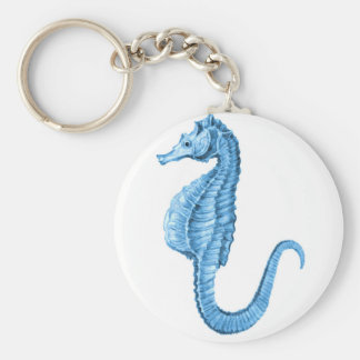 Blue seahorse coastal nautical ocean beach keychain