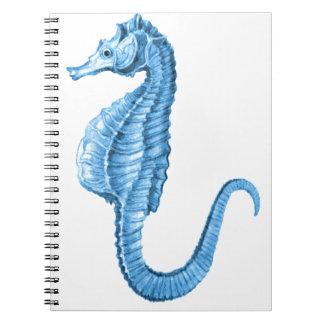 Blue seahorse coastal nautical ocean beach notebook