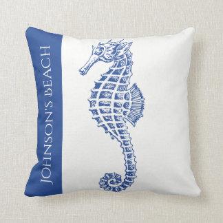 Blue Seahorse Marine Life Throw Pillow