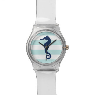 Blue Seahorse on Mint and White Nautical Stripes Watch