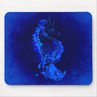 Blue Seahorse Painting Mouse Pad