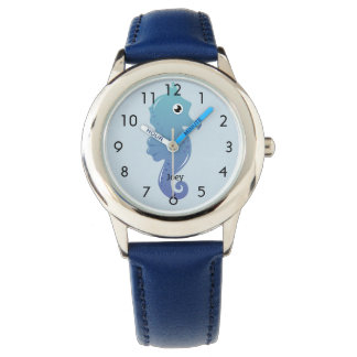 Blue Seahorse Personalized Child's Watch