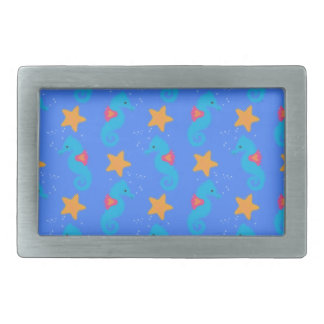 Blue Seahorses And Starfish Pattern Belt Buckle