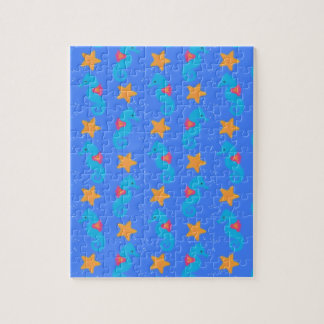 Blue Seahorses And Starfish Pattern Jigsaw Puzzle