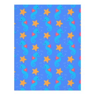 Blue Seahorses And Starfish Pattern Letterhead