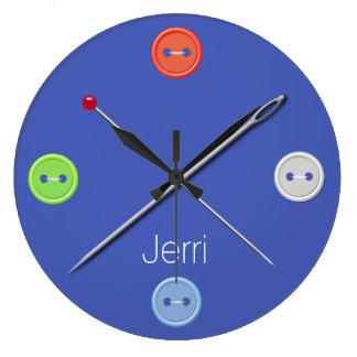 Blue Seamstress Wall Clock