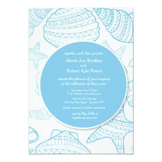 Blue Seas Shells Invitation