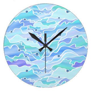 Blue Seascape Abstract Wall Clocks