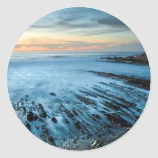 Blue seascape at sunset, California Classic Round Sticker