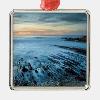 Blue seascape at sunset, California Metal Ornament