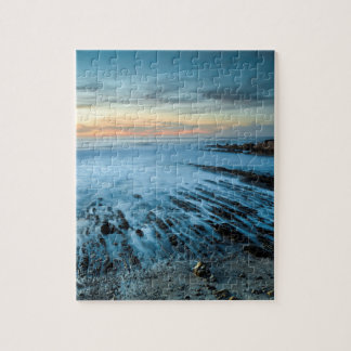 Blue seascape at sunset, California Puzzle