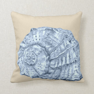 Blue Seashell 3 on Beige Throw Pillow