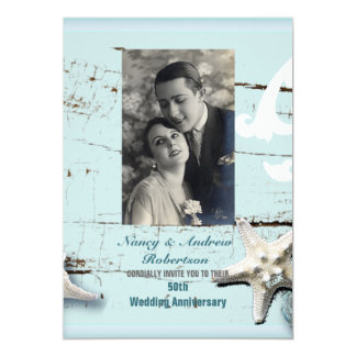 blue seashell beach 50th wedding anniversary card