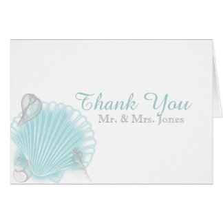 Blue Seashell Beach Wedding Thank You Card