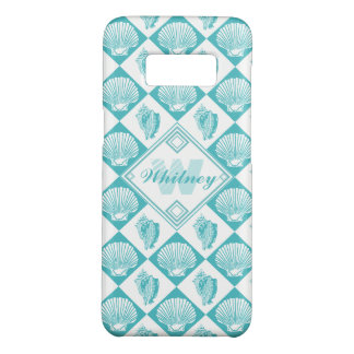 Blue Seashell Diamond Nautical Beach Monogram Case-Mate Samsung Galaxy S8 Case