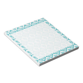 Blue Seashell Diamond Nautical Beach Notepad