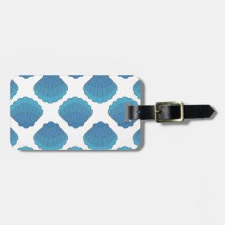 Blue Seashell Mosaic Pattern Luggage Tag