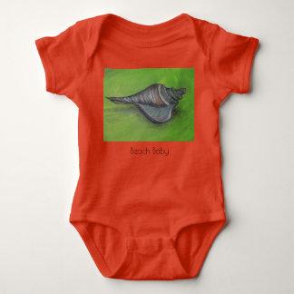 blue seashell on green beach baby baby bodysuit